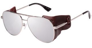 Le Specs PERFECT ILLUSION LSP1702150 SILVER REVO MIRROR LENSSHINY SILVER W. WORN BROWN LEATHER