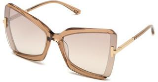 Tom Ford FT0766 57G braun verspiegeltbeige glanz